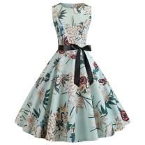 Women's Sleeveless Boatneck Vintage Tea Length Swing A-line Dress with Belt