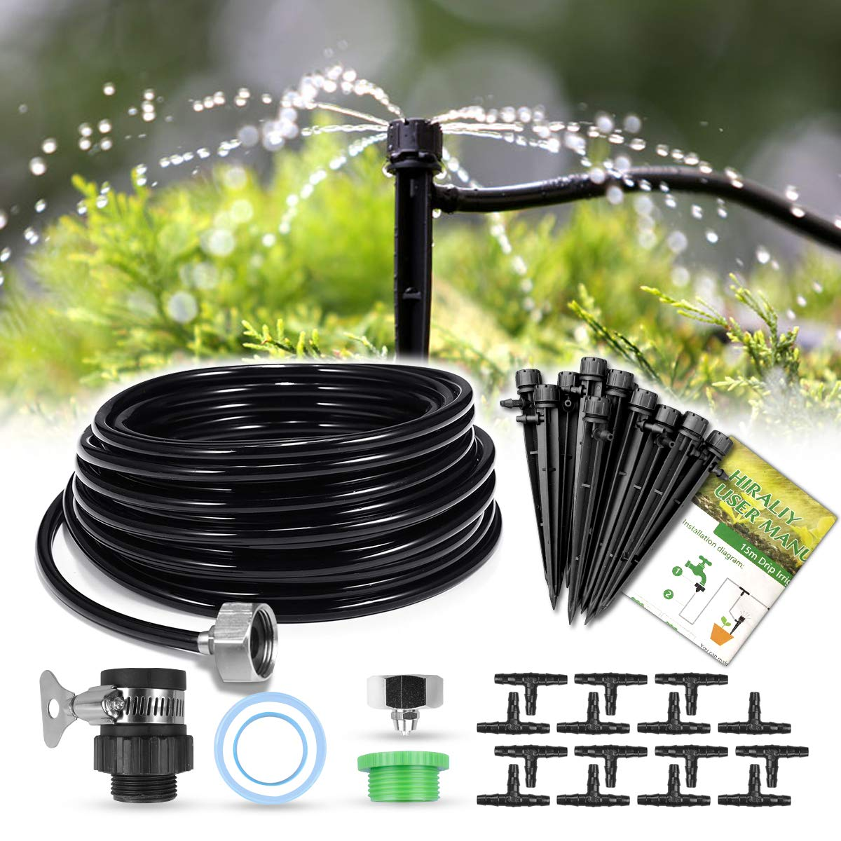 "HIRALIY 50ft /15M Drip Irrigation Kits 1/4"" Blank Distribution Tubing Plant Watering System DIY Saving Water Automatic Irrigation Equipment Set for Patio Lawn Garden Greenhouse Flower Bed"