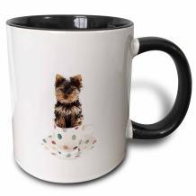3dRose 212051_4 Yorkie in Tea Cup Mug, 11 oz, Black