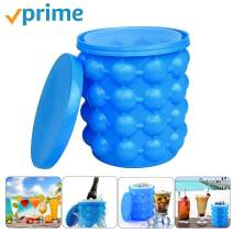 Ice Bucket,Large Silicone Ice Bucket & Ice Mold with lid, Silicon Ice Cube Maker LEADTEAM, (2 in 1) Space Saving Ice Cube Maker, Portable Silicon Ice Cube Maker