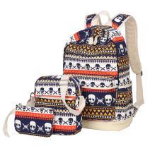 JiaYou Canvas Laptop Bag Shoulder Bag Pen Bag 14L School Backpack 3 Sets(StyleAMulticolors Skull,14L)