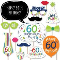 Big Dot of Happiness 60th Birthday - Cheerful Happy Birthday - Colorful Sixtieth Birthday Party Photo Booth Props Kit - 20 Count