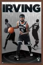 "Trends International NBA Brooklyn Nets - Kyrie Irving, 14.725"" x 22.375"", Mahogany Framed Version"
