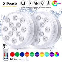 Magicfun 2 Pack Submersible LED Lights with Remote, Waterproof Underwater Lights Battery Operated 16 Color Changing Lamp with Suction Cups Magnets for Pool Pond Aquarium Bathtub Shower Decoration
