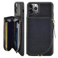 LAMEEKU iPhone 11 Pro Max Wallet Case, iPhone 11 Pro Max Case with Card Holder, Zipper Leather Case with Card Slot Wrist Strap, Shockproof Protective Cover for iPhone 11 Pro Max 6.5'' - Black