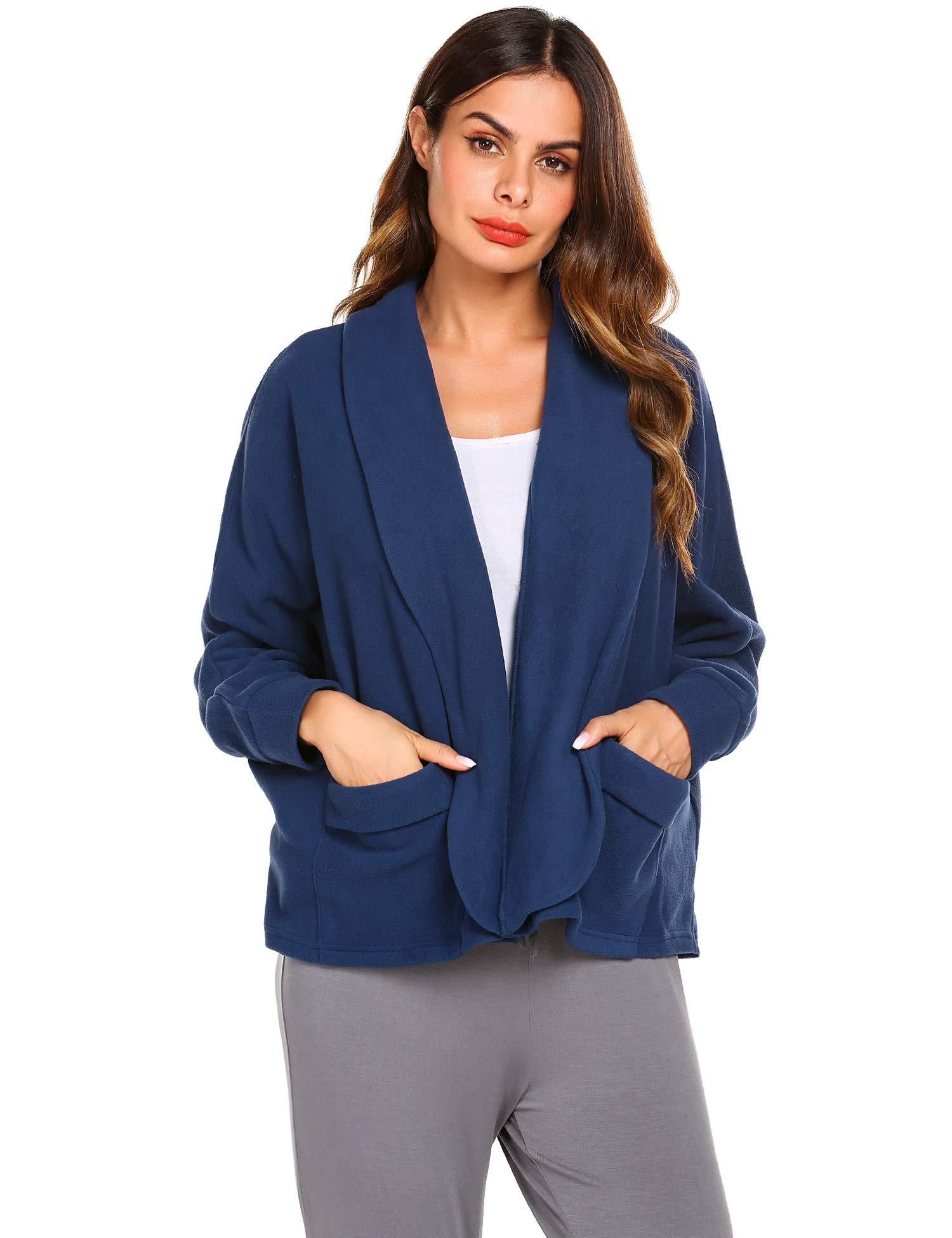Ekouaer Bed Jacket for Women Warm Winter Coat Sweater Cape Peter Pan-Collar Robe Lounge Nightgown Sleepwear Housecoat