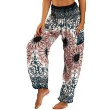 dilake Women's Boho Yoga Pants Harem Pants Hippie Flowy Casual Beach Pants High Waisted One Size