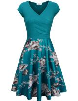KASCLINO Fit and Flare Dress, Women's Vintage Floral Wedding Party Dress with Pockets Blue M
