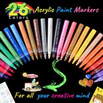 Acrylic Paint Makers 26 Colors Paint Pens for Rock Painting,Stone,Ceramis,Glass,Wood,Fabric,Canvas,Metal,DIY Craft, Water Based Markers