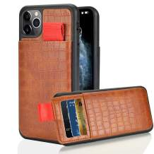 """LAMEEKU iPhone 11 Pro Max case Wallet, iPhone 11 Pro Max Wallet case with Credit Card Holder Pocket, Crocodile Skin Pattern Leather Protective Cover for iPhone 11 Pro Max 6.5""""(2019)-Brown"""