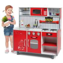 Lauraland 2 in 1 Play Kitchen & Fire Station Toy, Wooden Little Chef Pretend Play Kitchen Cooking Toy Set