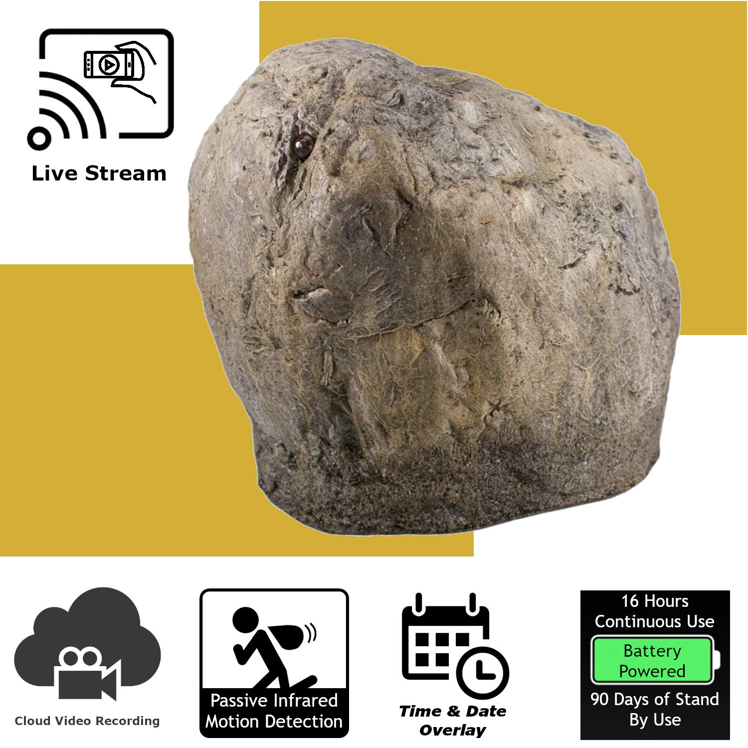 Discover IT   Wi-Fi Hidden Camera Spy Cam Home Surveillance Nanny Cam Landscape Rock with Cloud Video Recording, Battery Operated