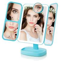 EASEHOLD Makeup Vanity Mirror with 38 Bright LEDs Soft Natural 1X/2X/5X/10X Magnifying Ultra-Thin Stable Base Portable 180 and 90 Rotation Touch Screen Dual Power Supply Upgraded Version III