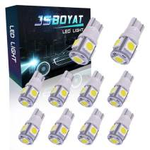 JSBOYAT 194 LED Bulb White 5-SMD 5050 Chipsets 168 2825 T10 W5W Car Interior Bulbs for Dome Map Turn Signal Courtesy License Plate Marker Light