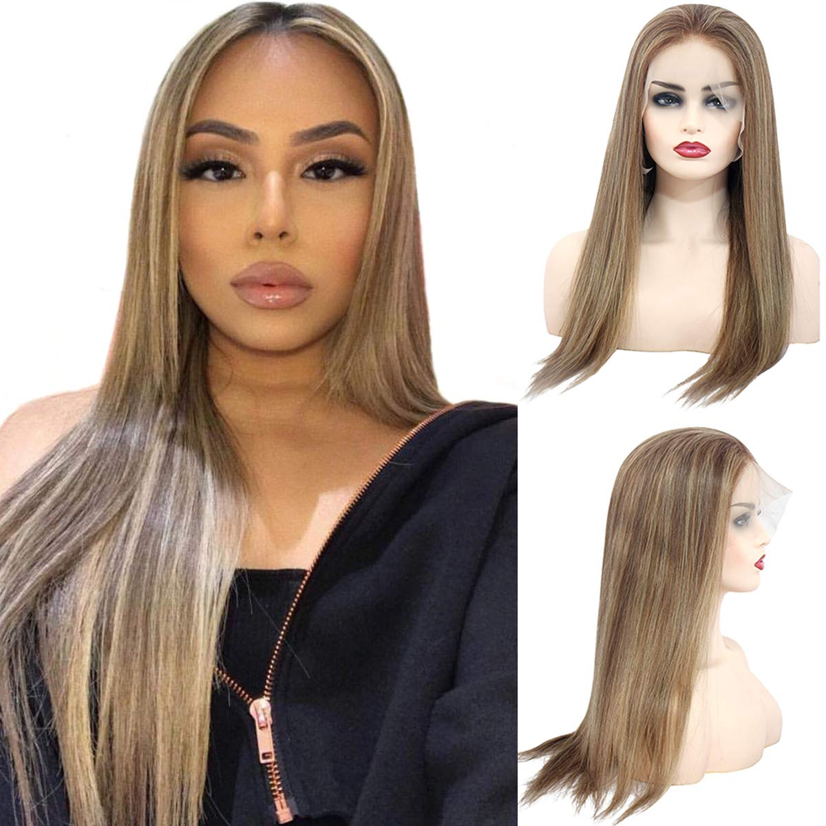 Ombre Balayage Lace Front Human Hair Wigs Chestnut Brown to Beige Blonde Highlights Straight Remy Hair Glueless Lace Frontal Blonde Wig Pre Plucked for White Women 14 Inch