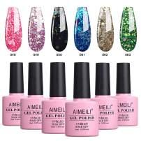 AIMEILI Glitter Gel Nail Polish Soak Off UV LED Gel Nail Lacquer Combo Color Set Of 6pcs X 10ml - Kit Set 10