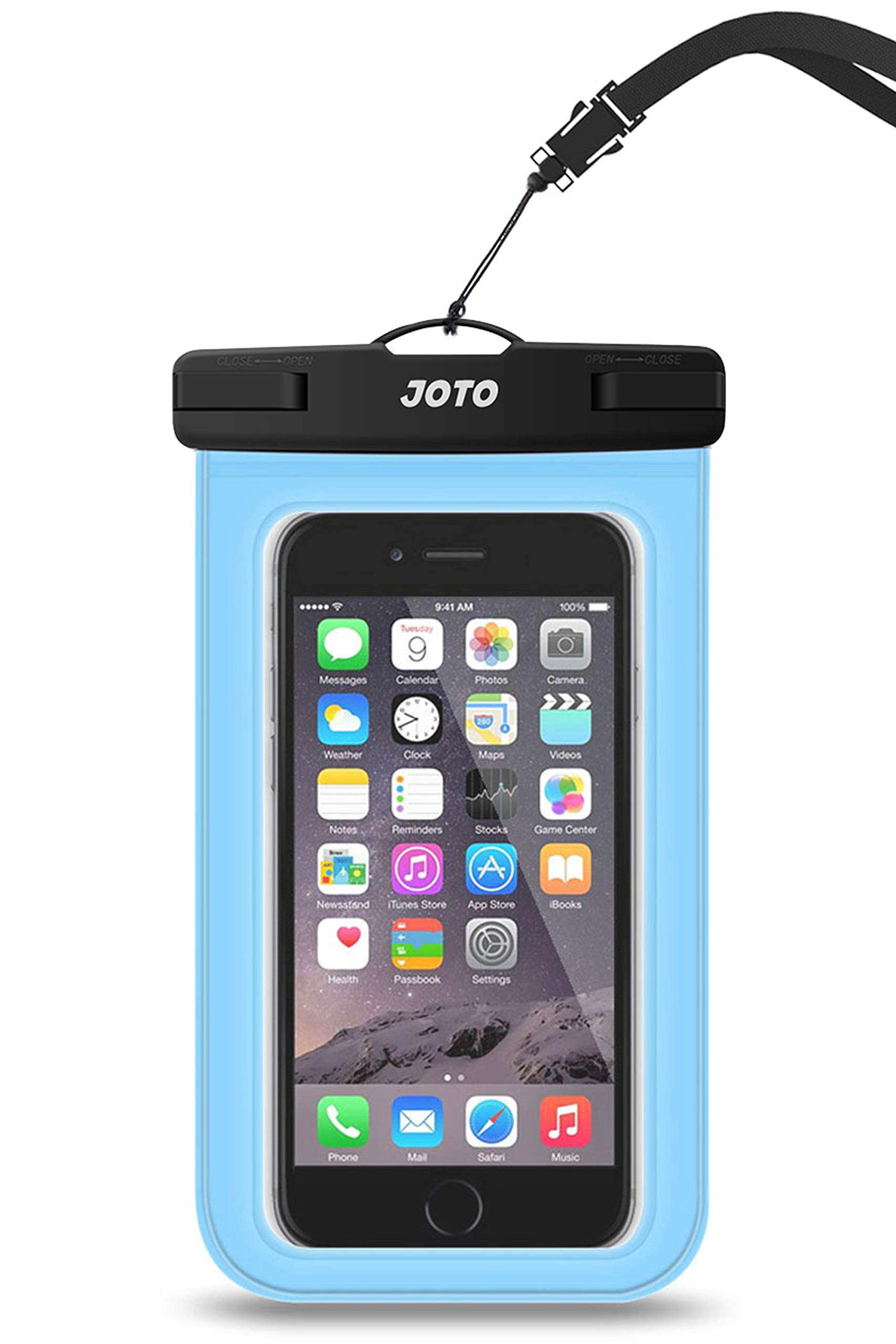 """JOTO Universal Waterproof Pouch Cellphone Dry Bag Case for iPhone 11 Pro Max Xs Max XR X 8 7 6S Plus SE 2020, Galaxy S20 Ultra S20+ S10 Plus S10e S9 Plus S8/Note 10+ 9, Pixel 4 XL up to 6.9"""" -Blue"""