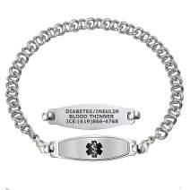 Divoti Custom Engraved Medical Alert Bracelets for Women, Stainless Steel Medical Bracelet, Medical ID Bracelet w/Free Engraving – Elegant Contempo Tag w/Knot Links - Color/Size