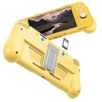 Protective Case for Nintendo Switch Lite 2019, Hard Grip Cover with 2 Game Card Slots Holder, Built in Stand, Shock-Absorption & Anti-Scratch Design, Yellow by Insten