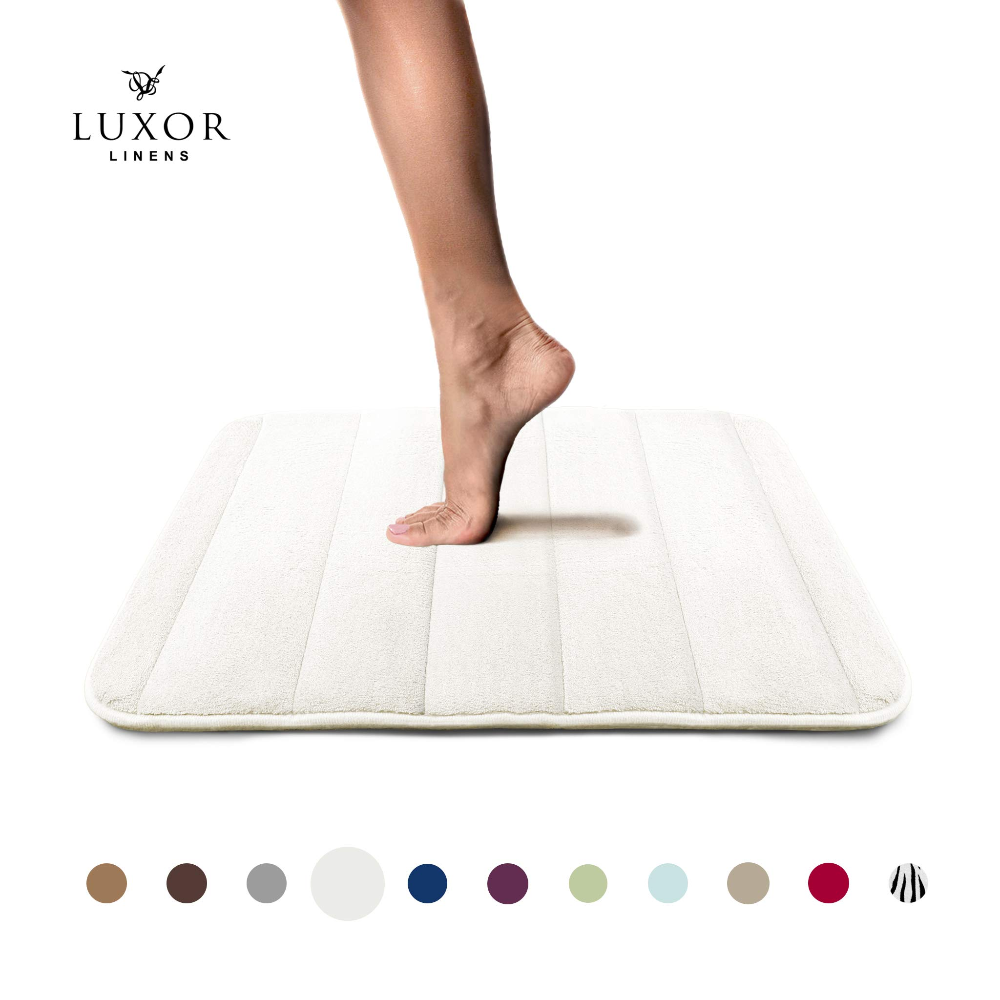 Luxor Linens - Memory Foam Bath Mat (17 x 25 inch) - Giovanni Line - Luxurious, Super Soft & Absorbent with Anti-Slip Backing - Available in a Wide Variety of Colors (One Bath Mat, Ivory)