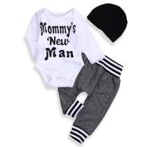 Newborn Baby Boy Clothes Little Brother Letter Print Romper Pants Hat 3Pcs Fall Winter Outfits Set