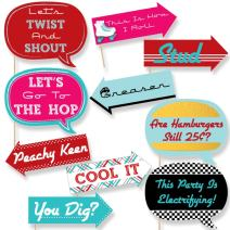 Big Dot of Happiness Funny 50's Sock Hop - 1950's Rock N Roll Party Photo Booth Props Kit - 10 Piece