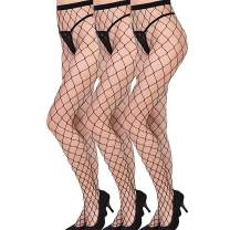 Women Rhinestone Hollow Tight Imitated Crystal Fishnet Elastic Stockings 2pairs