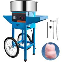 VBENLEM Commercial Cotton Candy Machine with Cart Blue 110V Stainless Steel Electric Candy Floss Maker with Cart Perfect for Various Parties