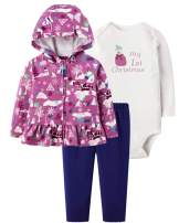 Herimmy Baby Girls' 3-Piece My 1st Christmas Long Sleeve Hoodie Sweatshirt Romper Jacket, Pants, and Bodysuit Outfit Set