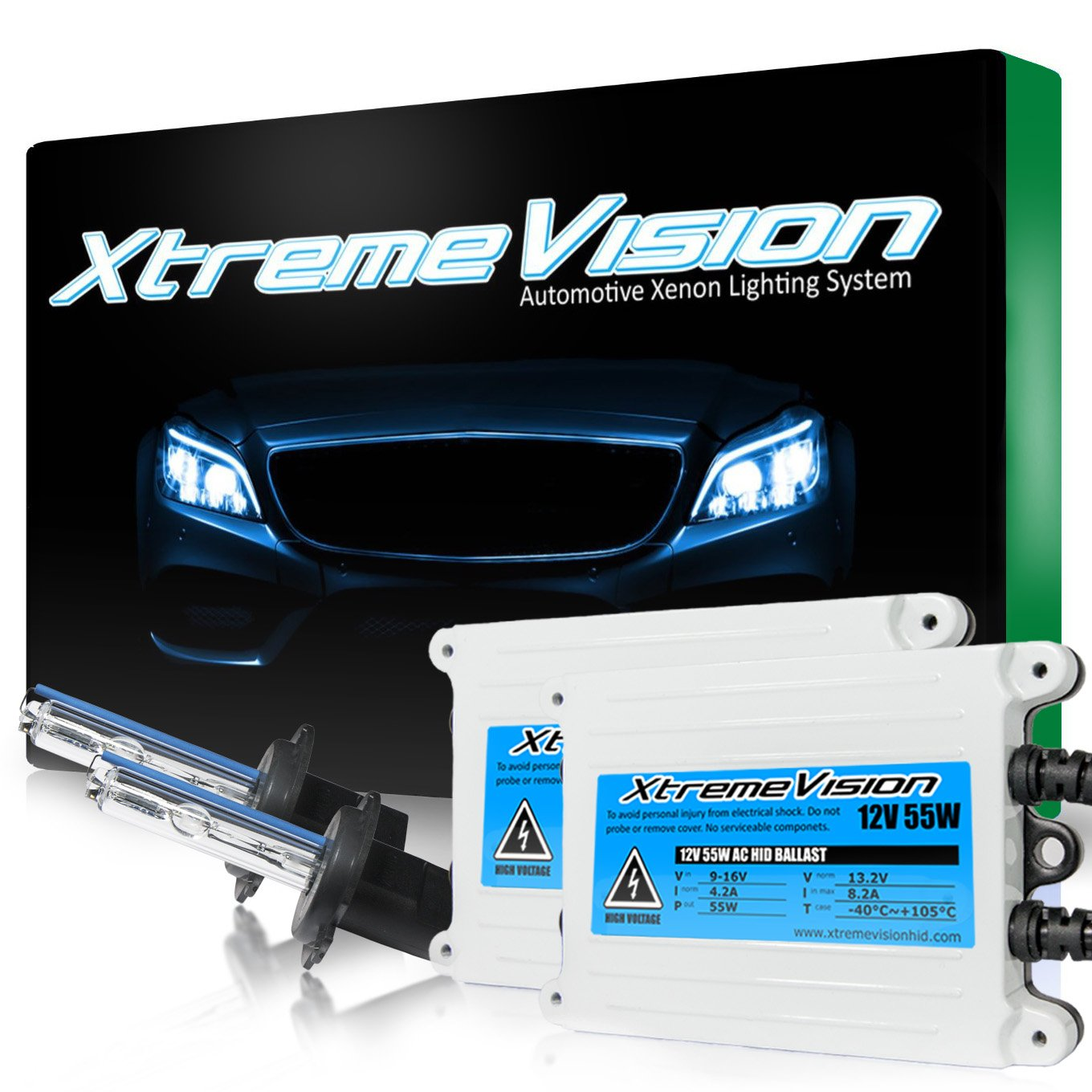 Xtremevision 55W AC Xenon HID Lights with Premium Slim AC Ballast - H7 4300K - 43K Bright Daylight - 2 Year Warranty