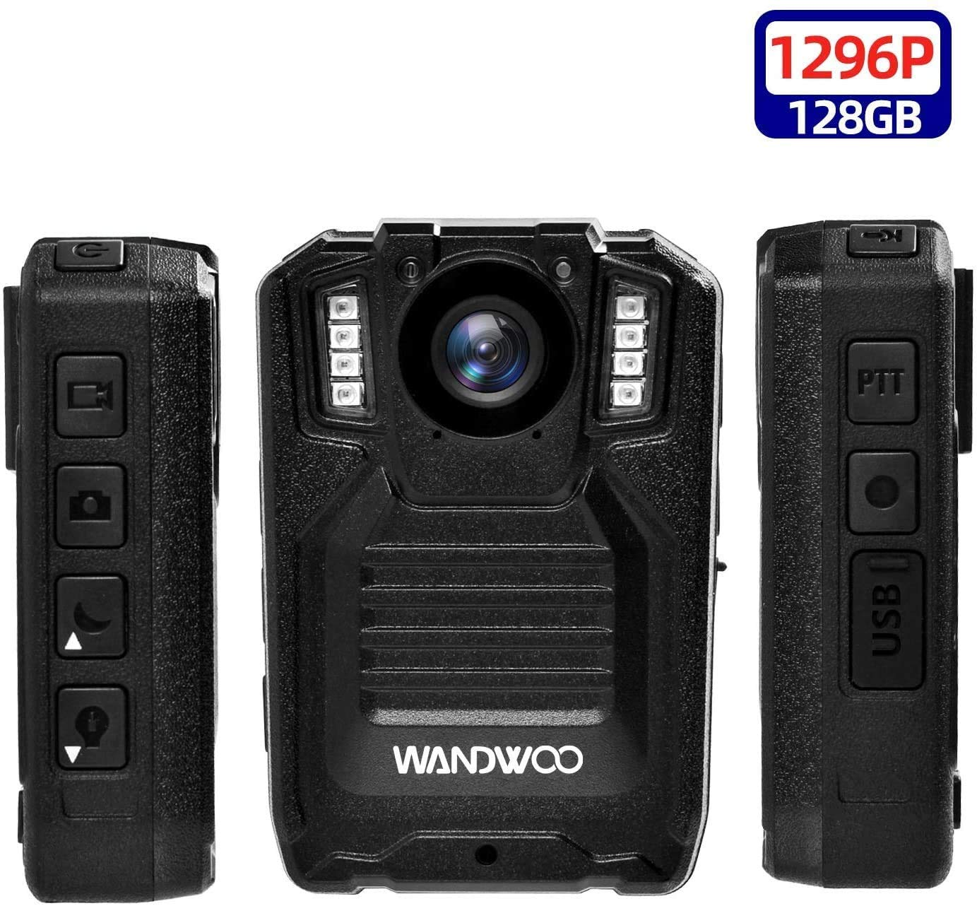 1296P Police Body Camera,128G Memory,WANDWOO Premium Portable Body Camera,Waterproof Body-Worn Camera with 2 Inch Display,Night Vision for Law Enforcement Recorder,Security Guards,Personal Use