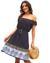 SOLERSUN Summer Women's Casual Boho Retro Off Shoulder Floral Stitching Beach Swing Mini Sundress