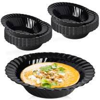 Elegant Disposable Plastic Bowls 180 Pcs - 5oz Heavyweight Fancy Flared Black Soup Bowls – Reusable Bulk Party Dessert Cereal Salad Bowls For Wedding, Christmas, Thanksgiving, Birthday & All Occasions
