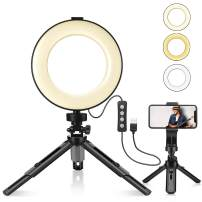 LED Ring Light 6'' with Stand Tripod for Makeup, Live Streaming & YouTube Video, Table LED Camera Light with Cell Phone Holder, Mini Dimmable Lamp with 3 Light Modes & 11 Brightness Level (6 inch)