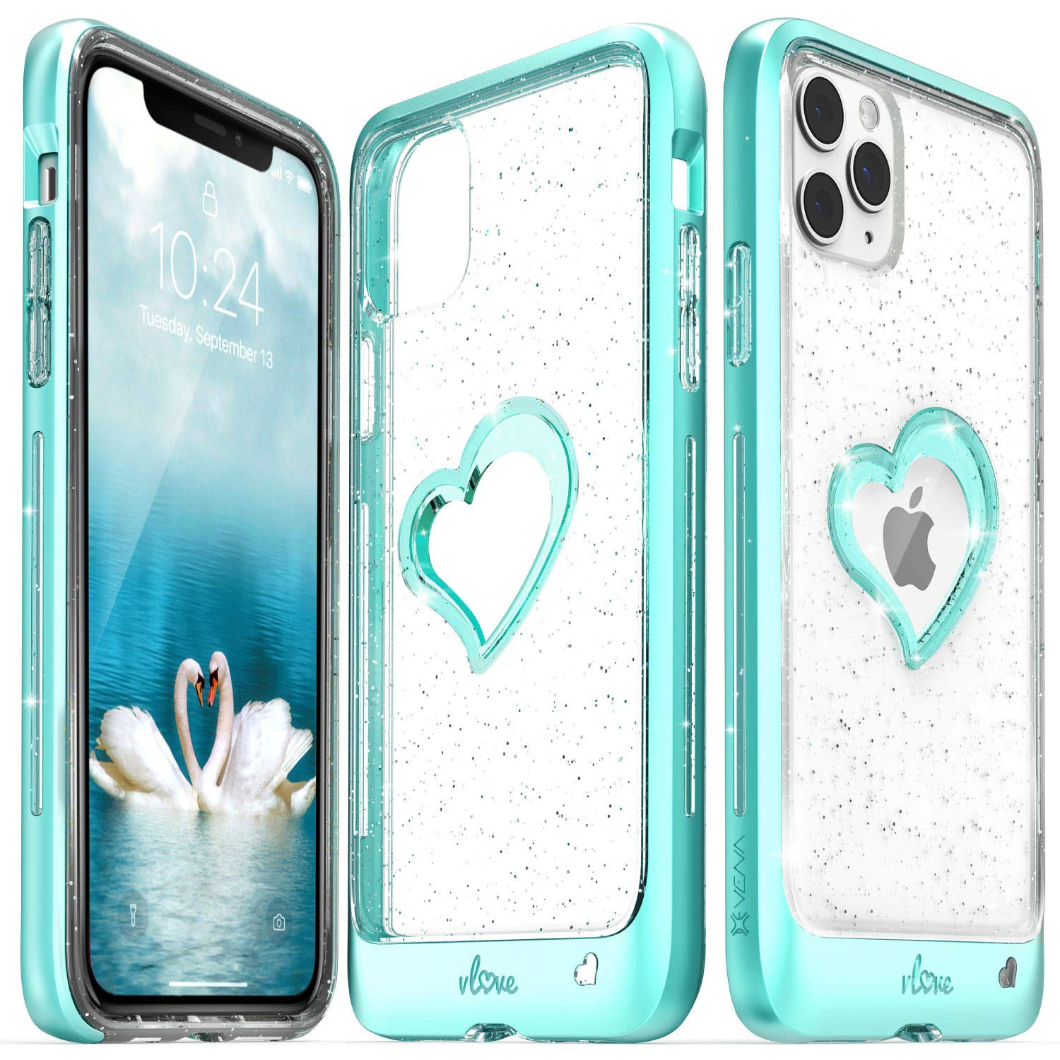 Vena iPhone 11 Pro Max Glitter Case, vLove Glitter Heart Case Slim Dual Layer Protection, Designed for iPhone 11 Pro Max (6.5 inches) - Teal (PC) and Clear TPU with Glitter
