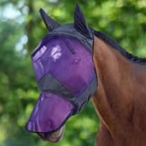 Harrison Howard CareMaster Horse Fly Mask Long Nose with Ears Black/Purple Retro