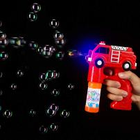 Fun Central 5.5 Inch LED Fire Truck Bubble Blaster Machine - Light Up Bubble Gun Blower for Kids with Bubble Solution