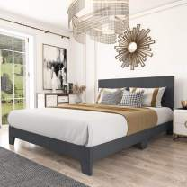 Amolife Full Size Platform Bed Frame with Adjustable Headboard, Fabric Upholstered Mattress Foundation with Wood Slat Support and Metal Legs, No Box Spring Needed, Dark Grey