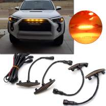 Xotic Tech 4pcs LED Amber Front Grille Lighting Assemblies Kit for 2014-2019 Toyota 4Runner TRD Pro Grille SR5 TRD Off-Road Limited TRO Pro - Smoked Lens