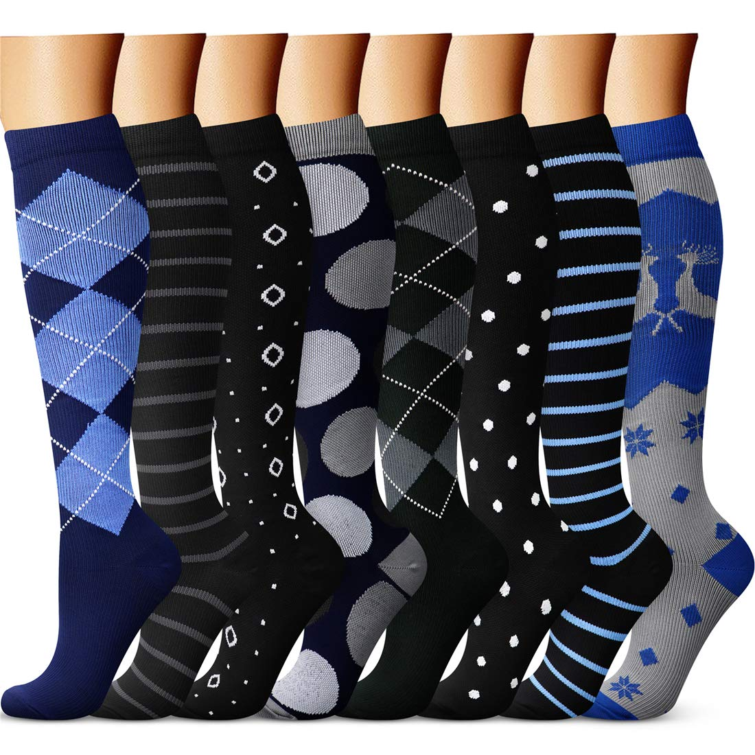 CHARMKING Copper Compression Socks for Women & Men (8 Pairs) 20-25 mmHg is Best Athletic, Running, Flight Travel,Cycling