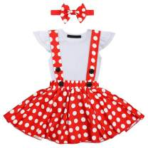 Baby Girls Polka Dots 1st Birthday Cake Smash Costume Romper + Overall Suspender Skirt + Headband Photo Shoot Costume