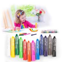 MayMoi Washable Crayons Tempera Paint Sticks for Kids, Teens and Adults, 12 Colors, Non-Toxic, Quick Drying