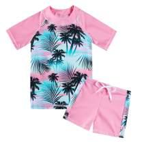 AIDEAONE Girls Rash Guard Set Two Piece Swimsuit UPF 50+ Short Sleeve Bathing Suit Beach Swimwear 3-8 Years