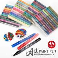 ZEYAR Acrylic Paint Pens, Expert of Rock Painting, Extra Fine, 48 Colors, Water Based Acrylic, Permanent&Waterproof Ink, Works on Rock, Wood, Glass, Metal, Ceramic and nearly All Surfaces (48 Colors)