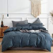 Uozzi Bedding 3 Pieces Navy Small Plaid Queen Duvet Cover Set Hypoallergenic Polyester for Man Women Cute Adult (1 Duvet Cover+2 Pillow case) 800 TC Soft Comforter Cover with 4 Corner Ties