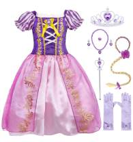HenzWorld Little Girls Dresses Princess Costume Dress Up Fairy Tales Cosplay Party Halloween Birthday Outfits Role Pretend Wig Headband Jewelry Accessories Gloves Purple Kids 4T Age 3-4 Years