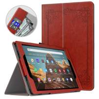 Dadanism All-New Amazon Fire HD 10 Tablet Case (9th Generation - 2019 Release) / (7th Generation - 2017 Release), Folio Cover Slim Stand with Card Slot for 10.1 Inch Cover - Vintage Style