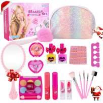 Girl Makeup Kit - Kids Real Washable Play Makeup Toy for Toddler Gifts Age 2 3 4 5 6 7, Child Pretend Princess Cosmetics Set with Glitter Purse, Nail Polish, Make up Brush, Eyeshadow, Lip Gloss, Blush