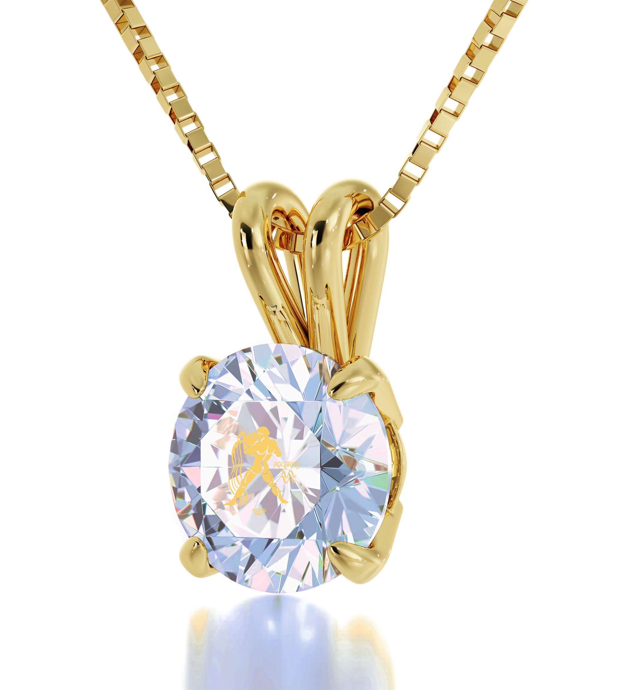 "14k Yellow Gold Aquarius Necklace Zodiac Pendant for Birthdays 20 January to 18 February 24k Gold Inscribed with Star Sign and Symbol on Solitaire Set Swarovski Crystal Stone, 18"" Gold Filled Chain"