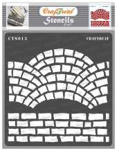 CrafTreat Brick Stencils for Painting on Wall, Wood, Canvas, Paper, Fabric, Floor, and Tile - Fancy Bricks - 6x6 Inches - Reusable DIY Art and Craft Stencils - Fancy Brick Stencil
